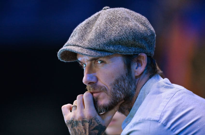 LONDON, ENGLAND - NOVEMBER 17: David Beckham watches the men's singles match between Milos Raonic of Canada and Dominic Thiem of Austria on day five of the ATP World Tour Finals at O2 Arena on November 17, 2016 in London, England. (Photo by Justin Setterfield/Getty Images)