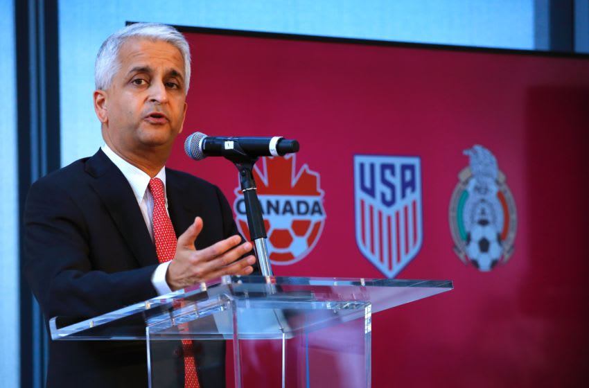 Sunil Gulati President of United States Soccer Federation attends a press conference on April 10, 2017 at the One World Trade Center in New York. The United States, Mexico and Canada announced a joint bid to stage the 2026 World Cup on Monday, aiming to become the first three-way co-hosts in the history of FIFA's showpiece tournament. / AFP PHOTO / KENA BETANCUR (Photo credit should read KENA BETANCUR/AFP/Getty Images)