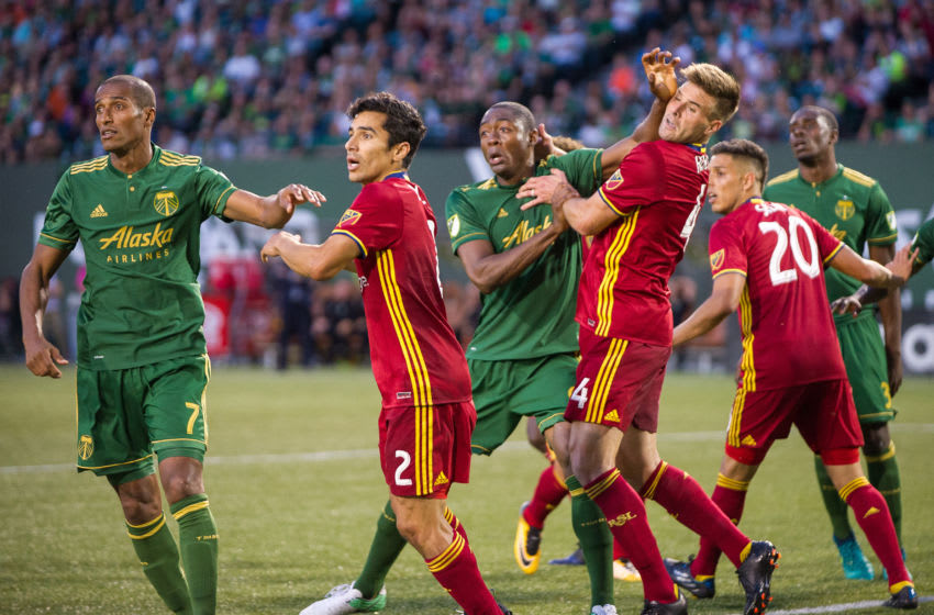 PORTLAND, OR - JULY 19: Portland Timbers forward Fanendo Adi jokeys for position in a corner during the Real Salt Lake 4-1 victory over the Portland Timbers on July 19, 2017 at Providence Park, Portland, OR (Photo by Diego Diaz/Icon Sportswire via Getty Images).