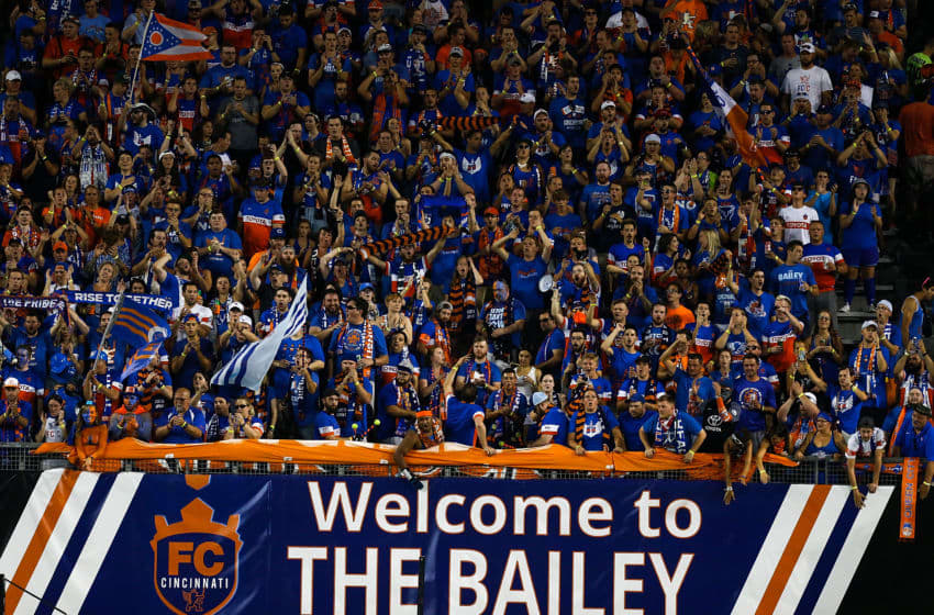 CINCINNATI, OH - AUGUST 15: FC Cincinnati fans cheer against the New York Red Bulls during the semifinal match of the 2017 Lamar Hunt U.S. Open Cup at Nippert Stadium on August 15, 2017 in Cincinnati, Ohio. (Photo by Michael Reaves/Getty Images)