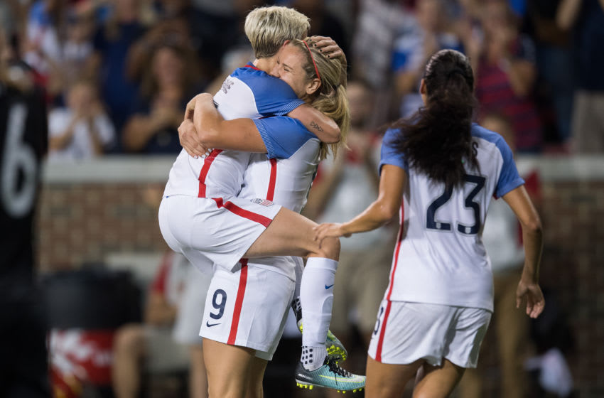CINCINNATI, OH - SEPTEMBER 19: United States midfielder Lindsey Horan (9) celebrates a score with United States midfielder Megan Rapinoe (15) during an International friendly match between the USA women's national team and New Zealand on September 19, 2017, at Nippert Stadium in Cincinnati, OH. (Photo by Zach Bolinger/Icon Sportswire via Getty Images)
