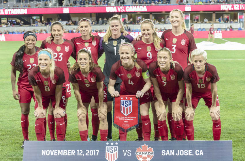 SAN JOSE, CA - NOVEMBER 12: The United States Women's National Team starters pose for a team photo prior to an international friendly against Canada on November 12, 2017 at Avaya Stadium in San Jose, California. In the front row, L-R, are Julie Ertz
