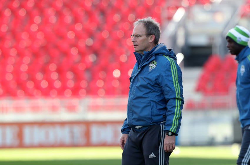 09 December 2016: Seattle head coach Brian Schmetzer. Seattle Sounders FC held a training session one day before playing in MLS Cup 2016 at BMO Field in Toronto, Ontario in Canada. (Photo by Andy Mead/YCJ/Icon Sportswire via Getty Images)