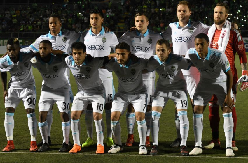 Players from the Seattle Sounders pose for a group photo before the start of the CONCACAF Champions League football match between Salvadorean team Santa Tecla and Seattle Sounders of the US in Santa Tecla on February 22, 2018. / AFP PHOTO / MARVIN RECINOS (Photo credit should read MARVIN RECINOS/AFP/Getty Images)