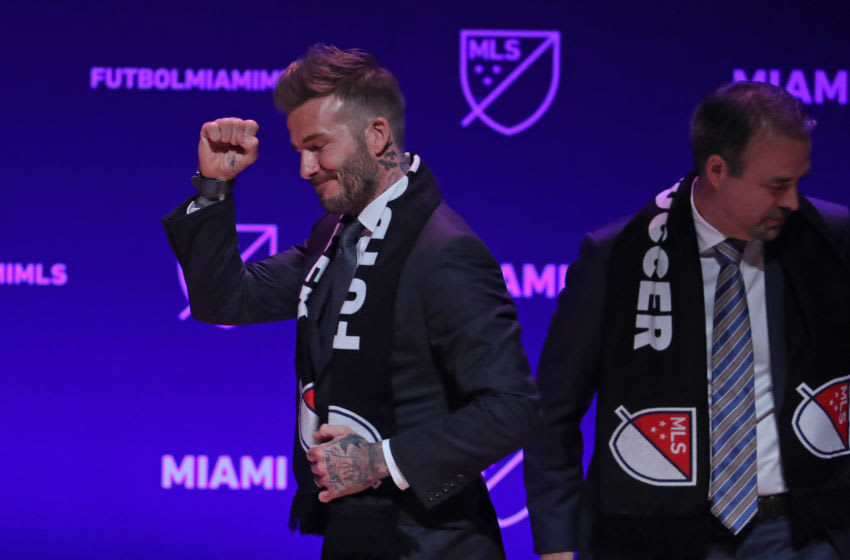 David Beckham, former Major League Soccer player, celebrates the award of a Miami expansion team at an announcement at the Adrienne Arsht Center. on Jan. 29, 2018 in Miami, Fla. (Susan Stocker/Sun Sentinel/TNS via Getty Images)