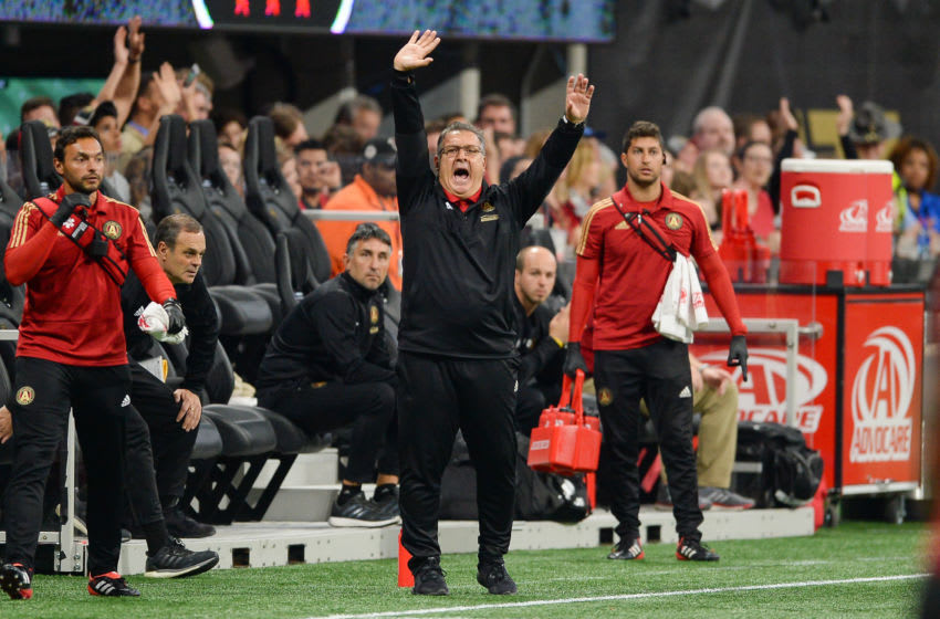 ATLANTA, GA MARCH 11: Atlanta United head coach Gerardo 'Tata' Martino reacts to the action on the field DC during the match between DC United and Atlanta United on March 11, 2018 at Mercedes-Benz Stadium in Atlanta, GA. Atlanta United FC defeated DC United by a score of 3 - 1. (Photo by Rich von Biberstein/Icon Sportswire via Getty Images)