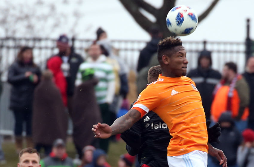 BOYDS, MD - MARCH 17: Houston Dynamo forward Romell Quioto (31) goes up for a header during a MLS soccer match between D.C. United and the Houston Dynamo on March 17, 2018, at the Maryland Soccerplex, in Boyds, Maryland. The game ended in a 2-2 tie. (Photo by Tony Quinn/Icon Sportswire via Getty Images)