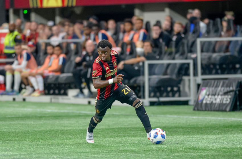 ATLANTA, GA - OCTOBER 06: Atlanta United defender George Bello (21) during the MLS game between the Atlanta United and the New England Revolution on October 6, 2018 at the Mercedes-Benz Stadium in Atlanta, GA. (Photo by John Adams/Icon Sportswire via Getty Images)