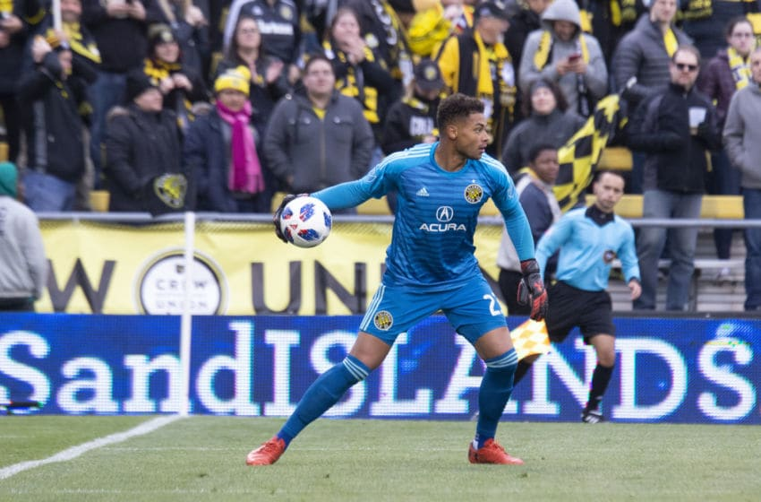 COLUMBUS, OH - NOVEMBER 04: Columbus Crew SC goalkeeper Zack Steffen (23) cleats the ball during the game between Columbus Crew SC and the New York Red Bulls at MAPFRE Stadium in Columbus, Ohio on November 4, 2018. (Photo by Jason Mowry/Icon Sportswire via Getty Images)
