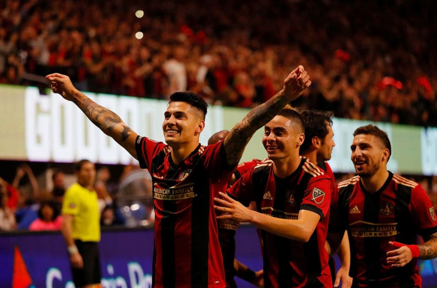 ATLANTA, GA - NOVEMBER 25: Franco Escobar #2 of Atlanta United celebrates scoring the second goal against the New York Red Bulls with Miguel Almiron #10 in the second half of the MLS Eastern Conference Finals between Atlanta United and the New York Red Bulls at Mercedes-Benz Stadium on November 25, 2018 in Atlanta, Georgia. (Photo by Kevin C. Cox/Getty Images)
