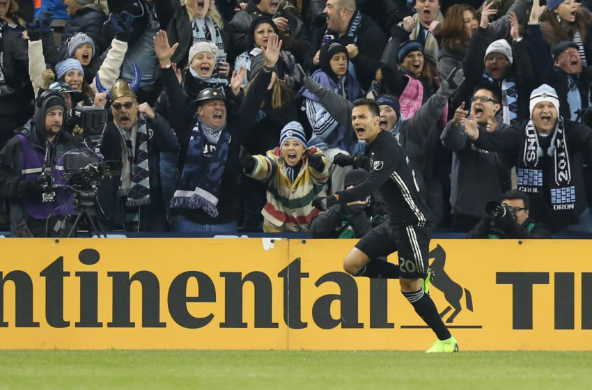 KANSAS CITY, KS - NOVEMBER 29: Sporting Kansas City forward Daniel Salloi (20) celebrates his goal in the first half of the MLS Western Conference Championship between the Portland Timbers and Sporting Kansas City on November 29, 2018 at Children's Mercy Park in Kansas City, KS. (Photo by Scott Winters/Icon Sportswire via Getty Images)