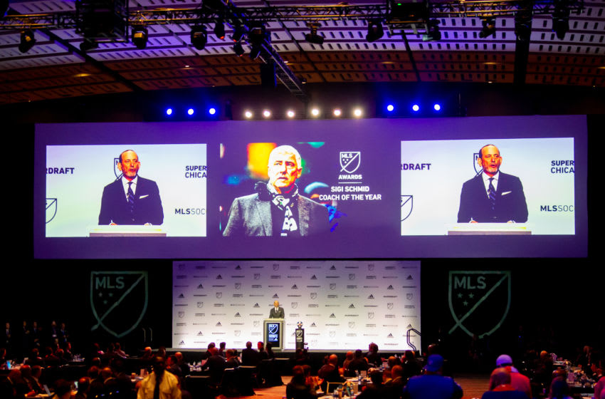 CHICAGO, IL - JANUARY 11: MLS commissioner Don Garber announces the renaming of the coach of the year award to the Sigi Schmid award in the first round of the MLS SuperDraft on January 11, 2019, at McCormick Place in Chicago, IL. (Photo by Patrick Gorski/Icon Sportswire via Getty Images)