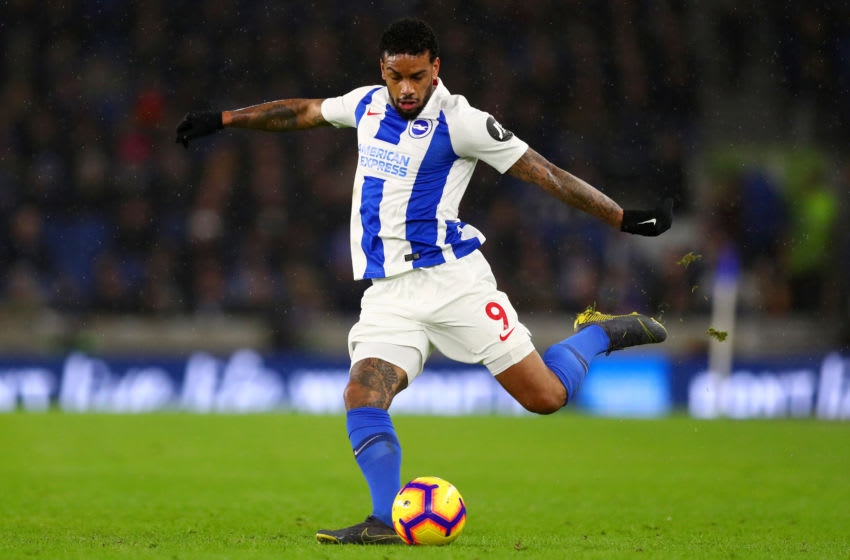 BRIGHTON, ENGLAND - FEBRUARY 09: Jurgen Locadia of Brighton & Hove Albion kicks the ball during the Premier League match between Brighton & Hove Albion and Burnley FC at American Express Community Stadium on February 09, 2019 in Brighton, United Kingdom. (Photo by Dan Istitene/Getty Images)
