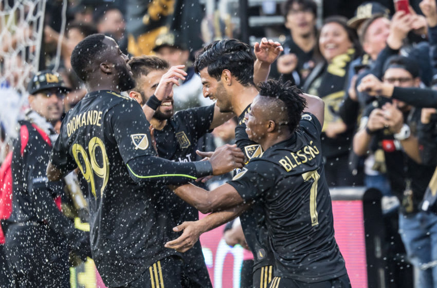 LOS ANGELES, CA - MARCH 10: Carlos Vela #10 of Los Angeles FC celebrates his goal during Los Angeles FC's MLS match against Portland Timbers at the Banc of California Stadium on March 10, 2019 in Los Angeles, California.Los Angeles FC won the match 4-1 (Photo by Shaun Clark/Getty Images)