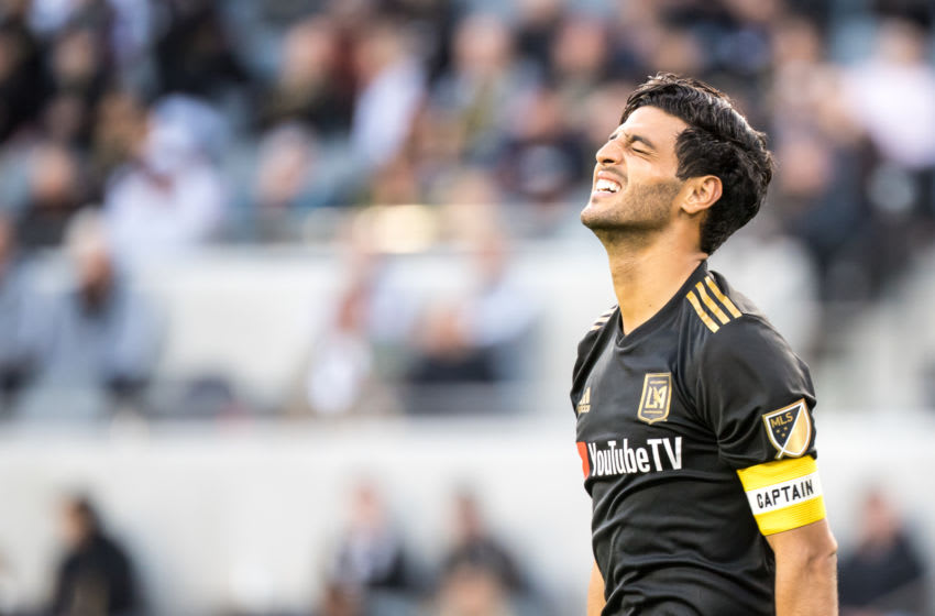 LOS ANGELES, CA - MARCH 10: Carlos Vela #10 of Los Angeles FC during Los Angeles FC's MLS match against Portland Timbers at the Banc of California Stadium on March 10, 2019 in Los Angeles, California.Los Angeles FC won the match 4-1 (Photo by Shaun Clark/Getty Images)