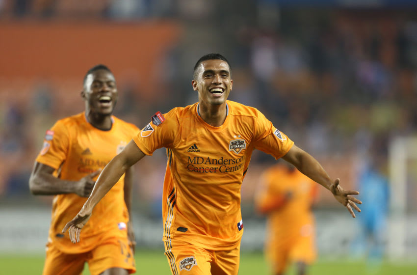 HOUSTON, TX - FEBRUARY 26: Mauro Manotas scores second goal for Houston Dynamo during the match between Houston Dynamo and CD Guastatoya as part of the CONCACAF Champions League 2019 at BBVA Compass Stadium on February 26, 2019 in Houston, Texas. (Photo by Omar Vega/Getty Images)