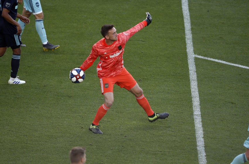 LOS ANGELES, CA - APRIL 21: Los Angeles FC goaltender Tyler Miller (1) makes a save during the game against the Seattle Sounders on April 21, 2019, at Banc of California Stadium in Los Angeles, CA. (Photo by Adam Davis/Icon Sportswire via Getty Images)