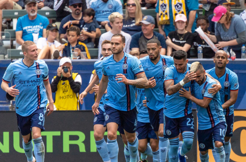 CARSON, CA - MAY 11: Maximiliano Moralez #10 of New York City celebrates his goal during the Los Angeles Galaxy's MLS match against New York City FC at the Dignity Health Sports Park on May 11, 2019 in Carson, California. NYCFC won the match 2-0 (Photo by Shaun Clark/Getty Images)