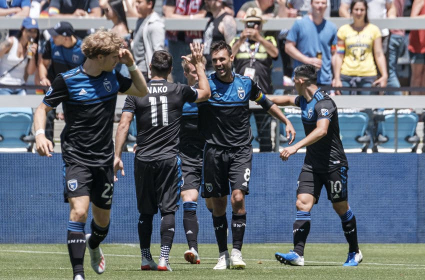 SAN JOSE, CA - JUNE 08: San Jose Earthquakes forward Chris Wondolowski (8) gets a high five from San Jose Earthquakes midfielder Valeri Kazaishvili (11) after scoring during the match between FC Dallas and San Jose Earthquakes on Saturday, June 08, 2019 at Avaya Stadium in San Jose, California. (Photo by Douglas Stringer/Icon Sportswire via Getty Images)