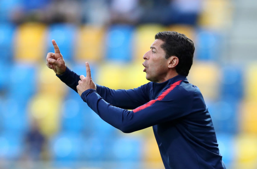 GDYNIA, POLAND - JUNE 08: Tab Ramos, head coach of the United States gives his team instructions during the 2019 FIFA U-20 World Cup Quarter Final match between USA and Ecuador at Gdynia Stadium on June 08, 2019 in Gdynia, Poland. (Photo by Lars Baron - FIFA/FIFA via Getty Images)