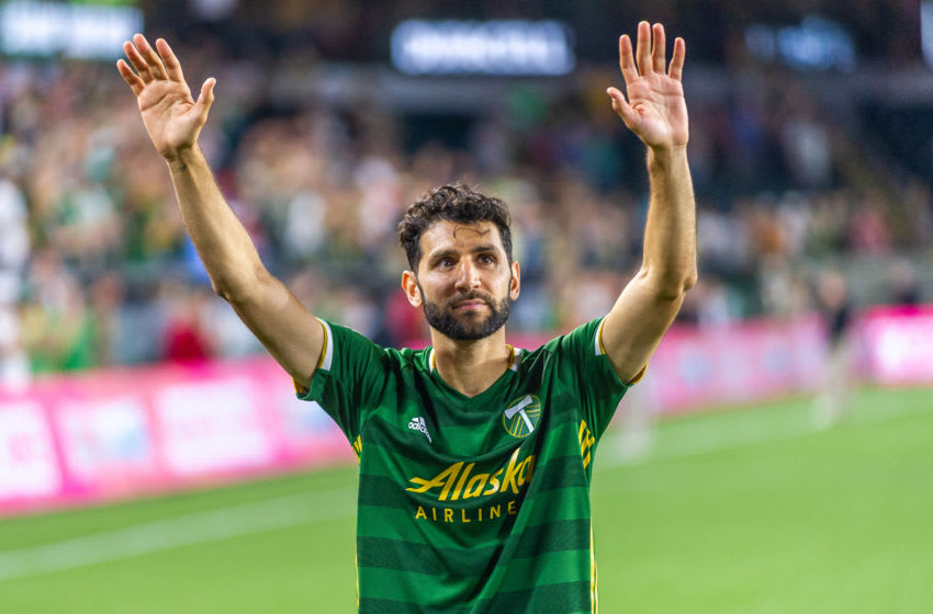 PORTLAND, OR - JULY 27: Portland Timbers midfielder Diego Valeri salutes the fans after the Portland Timbers 4-0 victory over the LA Galaxy at Providence Park, on July 27, 2019, in Portland, OR (Photo by Diego G Diaz/Icon Sportswire via Getty Images).