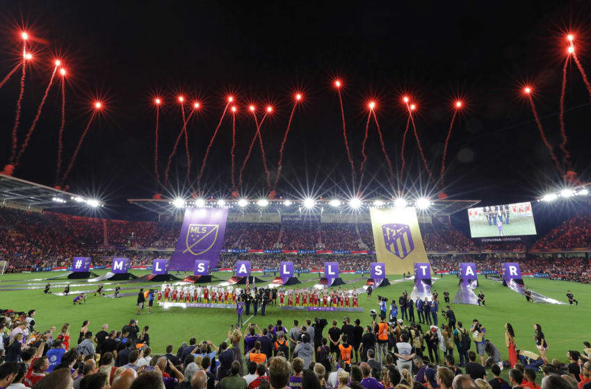 Fireworks explode before the MLS All-Star Game at Exploria Stadium in Orlando, Fla., on Wednesday, July 31, 2019. (Joe Burbank/Orlando Sentinel/Tribune News Service via Getty Images)