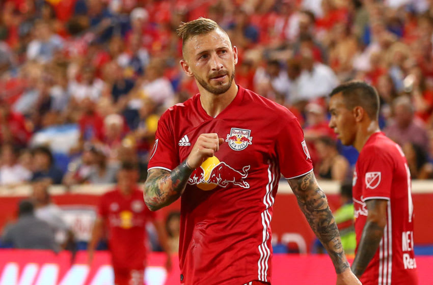 HARRISON, NJ - JULY 27: New York Red Bulls midfielder Daniel Royer (77) during the Major League soccer game between the New York Red Bulls and the Columbus Crew SC on July 27, 2019 at Red Bull Arena in Harrison, NJ. (Photo by Rich Graessle/Icon Sportswire via Getty Images)