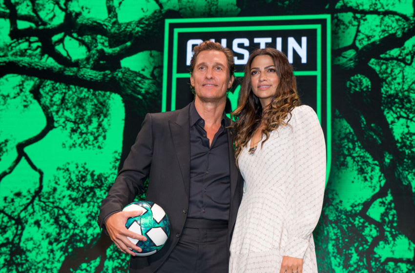 AUSTIN, TEXAS - AUGUST 23: Matthew McConaughey and Camila Alves attend the Austin FC Major League Soccer club announcement of four new investors including Matthew McConaughey, the 'Minister of Culture' at 3TEN ACL Live on August 23, 2019 in Austin, Texas. (Photo by Rick Kern/Getty Images)