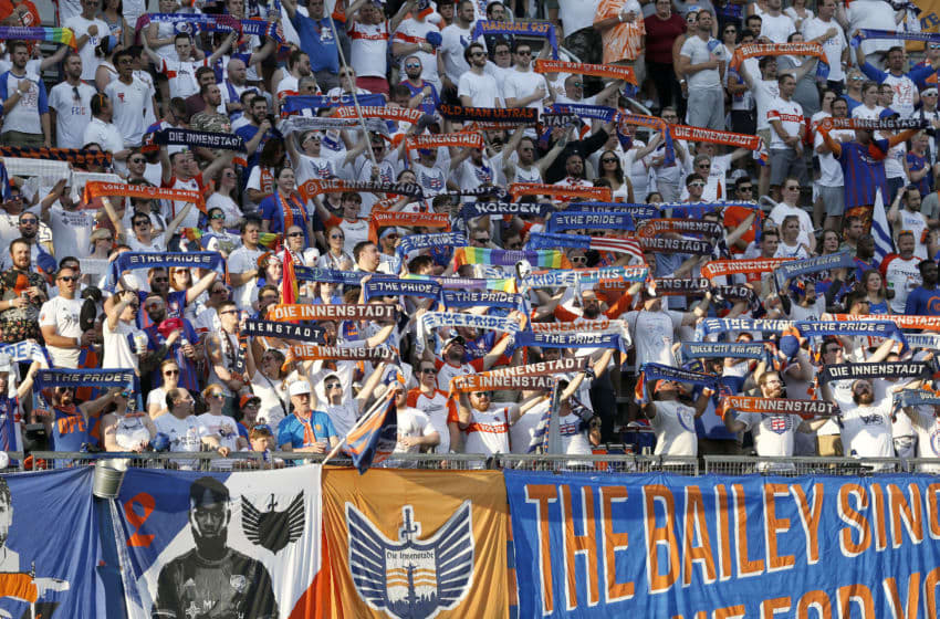 CINCINNATI, OHIO - JULY 18: FC Cincinnati fans before the start of the game against the D.C. United at Nippert Stadium on July 18, 2019 in Cincinnati, Ohio. (Photo by Justin Casterline/Getty Images)