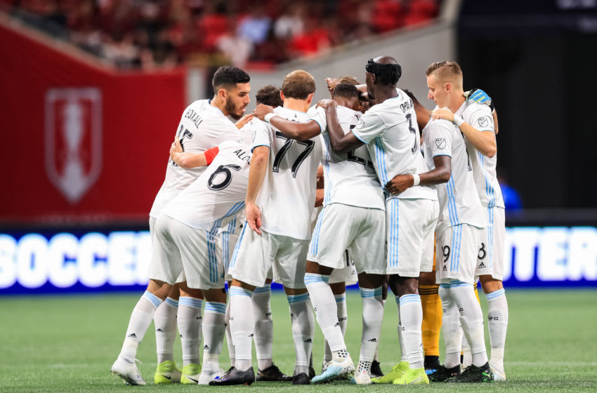 ATLANTA, GA - AUGUST 27: Minnesota United huddles prior to the start of the U.S. Open Cup Final against Atlanta United at Mercedes-Benz Stadium on August 27, 2019 in Atlanta, Georgia. (Photo by Carmen Mandato/Getty Images)