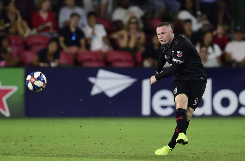 WASHINGTON, DC - AUGUST 04: Wayne Rooney #9 of D.C. United passes the ball in the first half against the Philadelphia Union at Audi Field on August 4, 2019 in Washington, DC. (Photo by Patrick McDermott/Getty Images)
