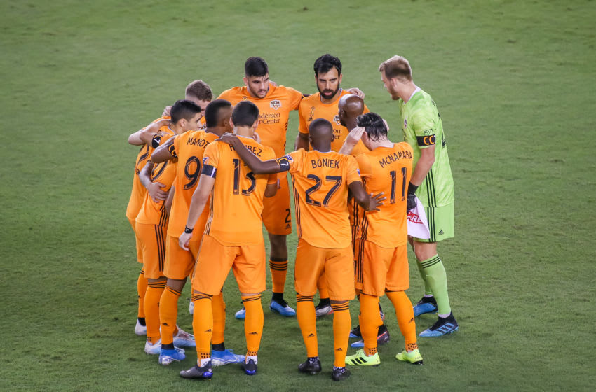 HOUSTON, TX - SEPTEMBER 11: Houston Dynamo starting players huddle during the MLS soccer match between the Minnesota United FC and Houston Dynamo at BBVA Stadium on September 11, 2019 in Houston, Texas. (Photo by Leslie Plaza Johnson/Icon Sportswire via Getty Images)