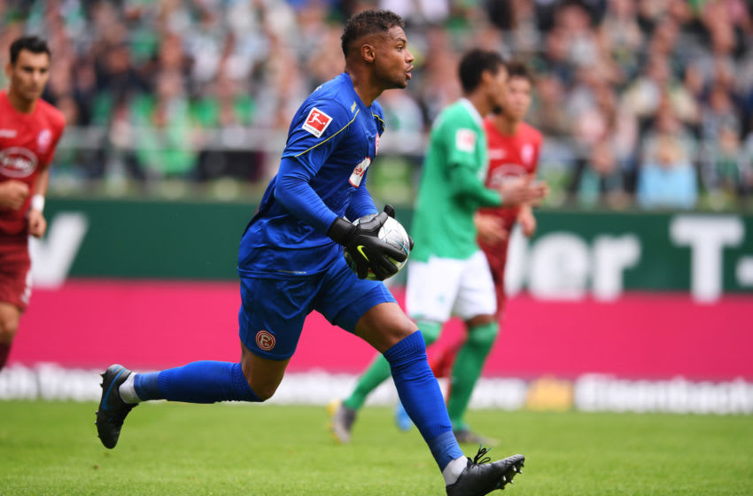 BREMEN, GERMANY - AUGUST 17: Zackary Steffen of Fortuna Duesseldorf in action during the Bundesliga match between SV Werder Bremen and Fortuna Duesseldorf at Wohninvest Weserstadion on August 17, 2019 in Bremen, Germany. (Photo by Oliver Hardt/Bongarts/Getty Images)
