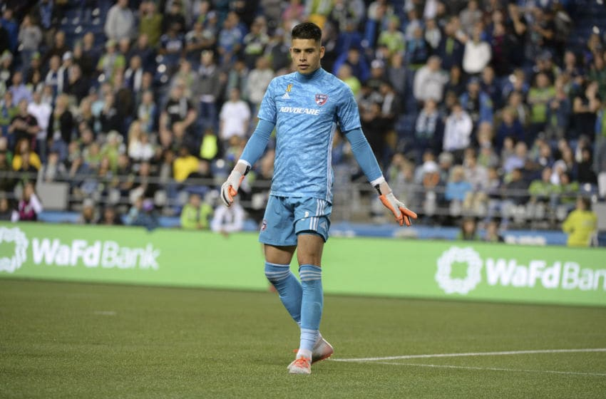 SEATTLE, WA - SEPTEMBER 18: FC Dallas goalkeeper Jesse Gonzalez (1) during a MLS match between FC Dallas and the Seattle Sounders on September 18, 2019, at Century Link Stadium in Seattle, WA. (Photo by Jeff Halstead/Icon Sportswire via Getty Images)