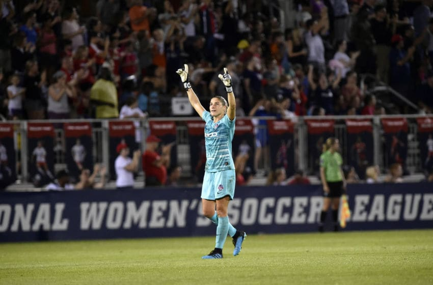 BOYDS, MD - SEPTEMBER 28: Washington Spirit goalie Aubrey Bledsoe (1) raises her arms and fingers in the air as she celebrates the Spirits game-winning goal during the North Carolina Courage vs. Washington Spirit National Womens Soccer League (NWSL) game September 28, 2019 at Maureen Hendricks Field in Boyds, MD. (Photo by Randy Litzinger/Icon Sportswire via Getty Images)