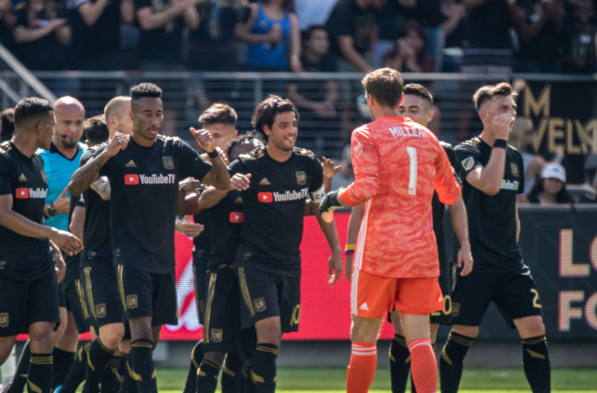 LOS ANGELES, CA - OCTOBER 6: Carlos Vela #10 of Los Angeles FC celebrates his first goal of the match during Los Angeles FC's MLS match against Sporting Kansas City at the Banc of California Stadium on October 6, 2019 in Los Angeles, California. Los Angeles FC won the match 3-1 (Photo by Shaun Clark/Getty Images)