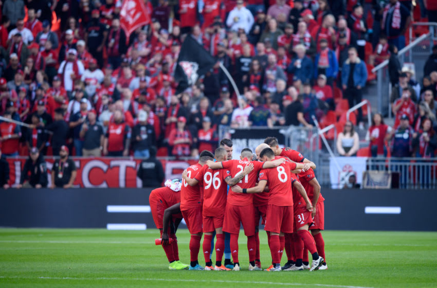TORONTO, ON - OCTOBER 06: Toronto FC players huddle up before the MLS regular season match between Toronto FC and Columbus Crew on October 6, 2019, at BMO Field in Toronto, ON, Canada. (Photo by Julian Avram/Icon Sportswire via Getty Images)