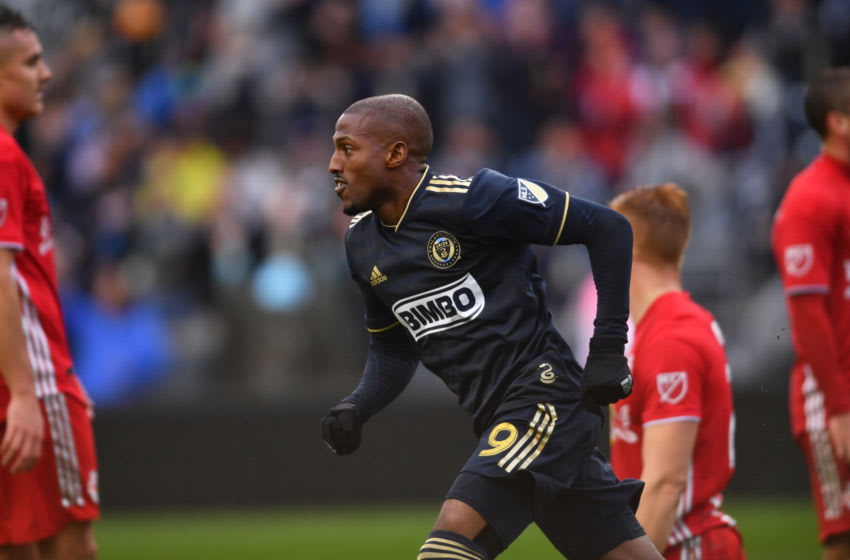 CHESTER, PA - OCTOBER 20: Union Forward Fafa Picault (9) heads toward the bench after scoring a goal in the second half during the MLS Playoff game between the New York Red Bulls and Philadelphia Union on October 20, 2019 at Talen Energy Stadium in Chester, PA. (Photo by Kyle Ross/Icon Sportswire via Getty Images)