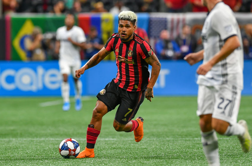 ATLANTA, GA - OCTOBER 24: Atlanta's Josef Martinez (7) moves with the ball during the MLS playoff match between Philadelphia Union and Atlanta United FC on October 24th, 2019 at Mercedes-Benz Stadium in Atlanta, GA. (Photo by Rich von Biberstein/Icon Sportswire via Getty Images)