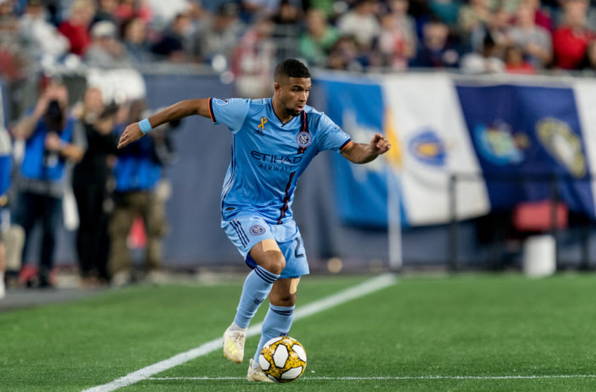 FOXBOROUGH, MA - SEPTEMBER 29: Ismael Tajouri-Shradi #29 of New York City FC dribbles during a game between New York City FC and New England Revolution at Gillette Stadium on September 29, 2019 in Foxborough, Massachusetts. (Photo by Andrew Katsampes/ISI Photos/Getty Images)