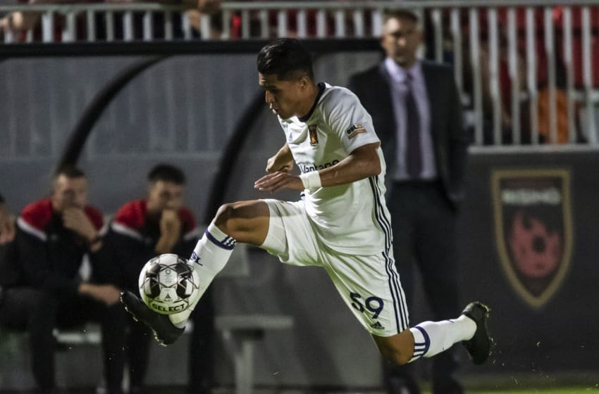 PHOENIX, ARIZONA - OCTOBER 12: Luis Palma #59 of Real Monarchs SLC controls the ball during the USL match between Real Monarchs and Phoenix Rising FC at Casino Arizona Field on October 12, 2019 in Phoenix, Arizona. (Photo by Joe Hicks/Getty Images)
