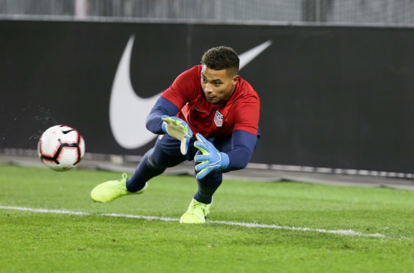 TORONTO, ON - OCTOBER 15: Zack Steffen #1 of the United States warms up prior to the game between Canada and USMNT at BMO Field on October 15, 2019 in Toronto, Canada. (Photo by John Dorton/ISI Photos/Getty Images)