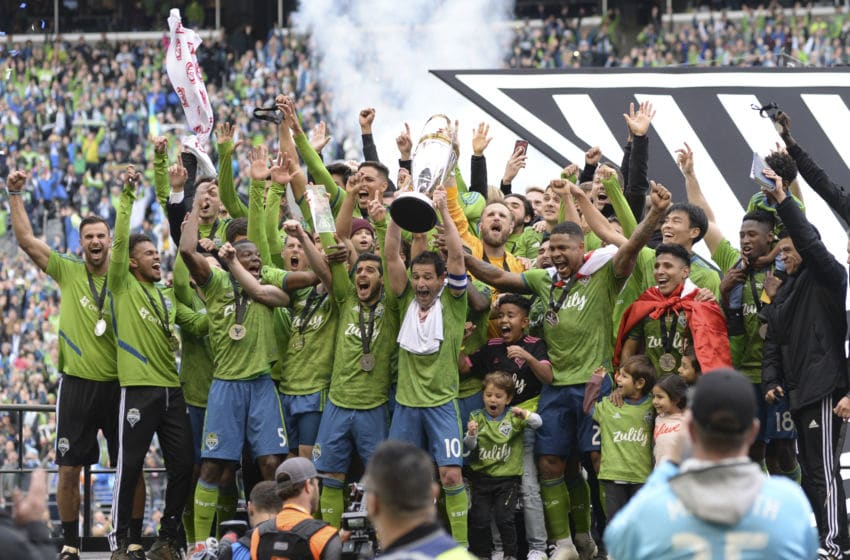 SEATTLE, WA - NOVEMBER 10: The Seattle Sounders celebrate their 3-1 win after the MLS Championship match against Toronto FC on November 10, 2019, at Century Link Field in Seattle, WA. (Photo by Jeff Halstead/Icon Sportswire via Getty Images)