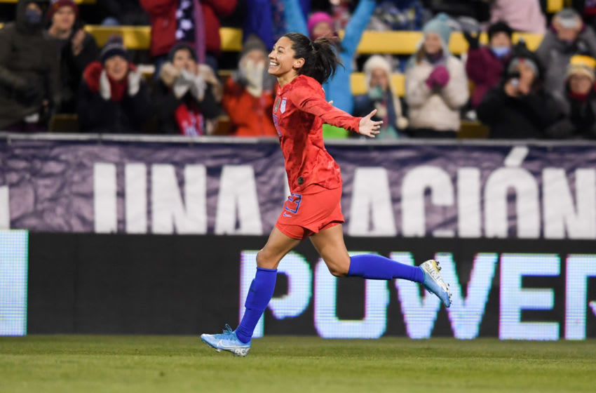 COLUMBUS, OH - NOVEMBER 07: Christen Press #23 of the United States celebrates her goal during a game between Sweden and USWNT at MAPFRE Stadium on November 07, 2019 in Columbus, Ohio. (Photo by Brad Smith/ISI Photos/Getty Images)