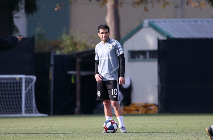 TUKWILA, WA - NOVEMBER 08: Nicolas Lodeiro #10 of the Seattle Sounders FC at Starfire Sports Complex on November 08, 2019 in Tukwila, Washington. (Photo by Andy Mead/ISI Photos/Getty Images)