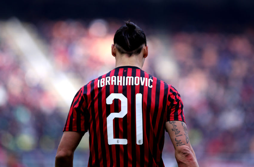 STADIO GIUSEPPE MEAZZA, MILANO, ITALY - 2020/01/19: Zlatan Ibrahimovic of Ac Milan during the Serie A match between Ac Milan and Udinese Calcio. Ac Milan wins 3-2 over Udinese Calcio. (Photo by Marco Canoniero/LightRocket via Getty Images)