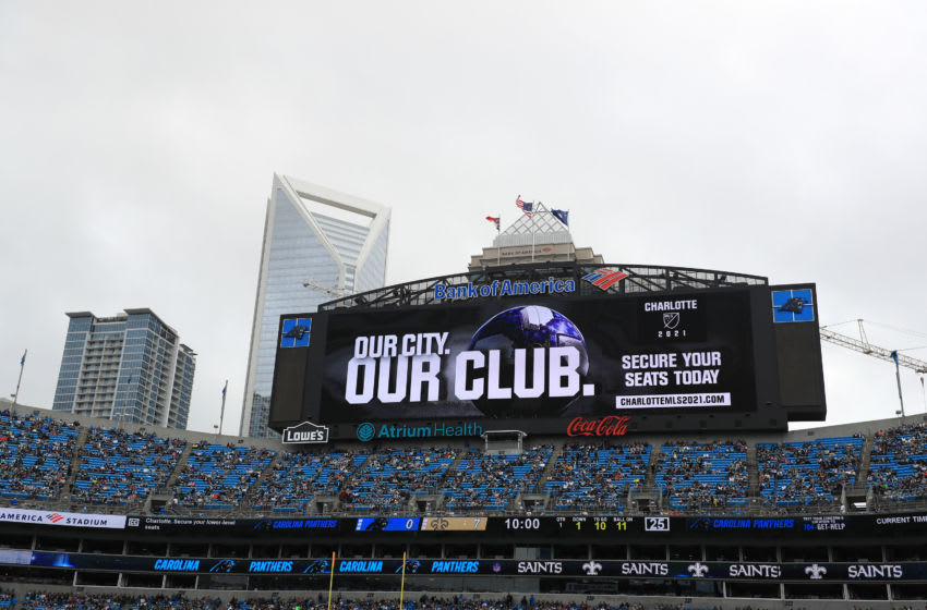 CHARLOTTE, NORTH CAROLINA - DECEMBER 29: A general view of an announcement of the Major League Soccer team coming to Charlotte in 2021 during the game between the New Orleans Saints and Carolina Panthers at Bank of America Stadium on December 29, 2019 in Charlotte, North Carolina. (Photo by Streeter Lecka/Getty Images)