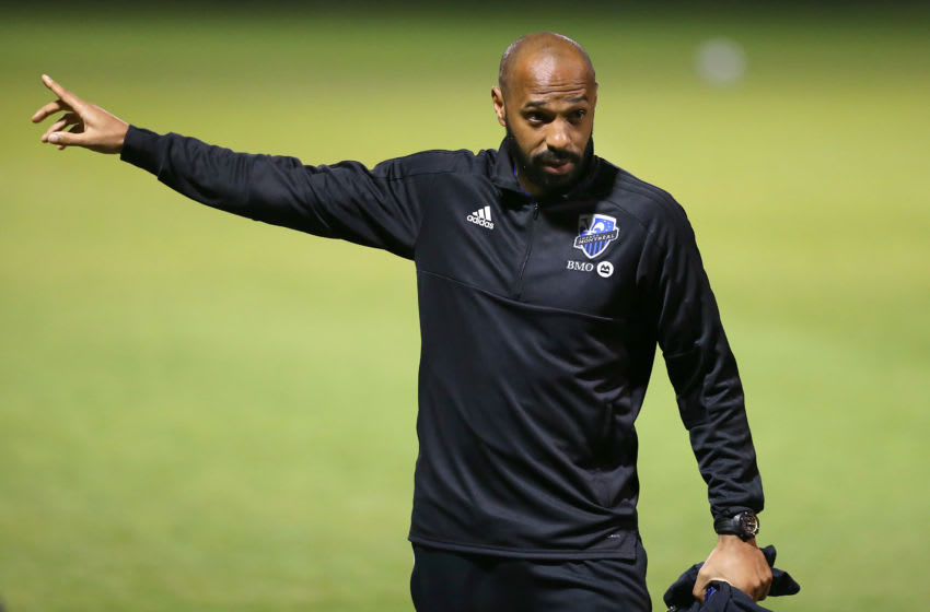 Clearwater, FL - FEB 05: Impact Head Coach Thierry Henry points out towards the field during the pre-season match between the Philadelphia Union and the Montreal Impact on February 05, 2020 at Joe DiMaggio Sports Complex in Clearwater, Florida. (Photo by Cliff Welch/Icon Sportswire via Getty Images)