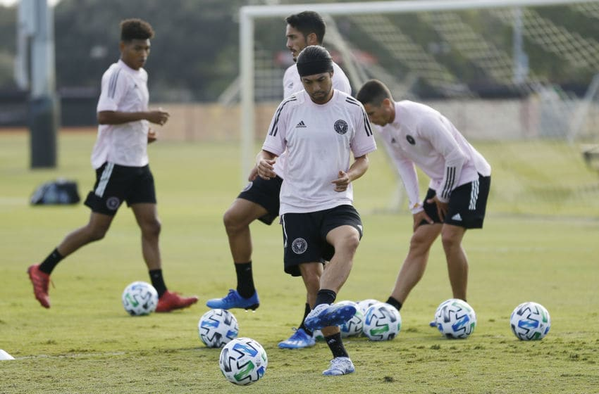 MIAMI, FLORIDA - JANUARY 23: Lee Nguyen of Inter Miami CF dribbles during a training session at Barry University on January 23, 2020 in Miami, Florida. (Photo by Michael Reaves/Getty Images)