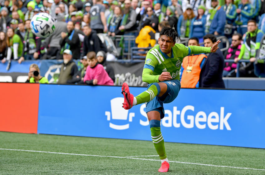 SEATTLE, WASHINGTON - MARCH 01: Xavier Arreaga #3 of Seattle Sounders kicks the ball during the second half of the match against the Seattle Sounders at CenturyLink Field on March 01, 2020 in Seattle, Washington. The Seattle Sounders topped the Chicago Fire, 2-1. (Photo by Alika Jenner/Getty Images)